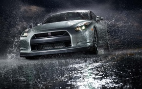 Wallpaper GTR, Nissan, Water