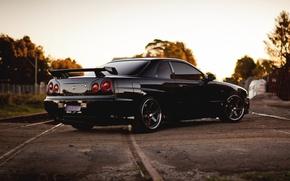 Picture Nissan, black, skyline, gtr, r34, back, railroad