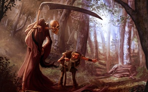 Picture forest, death, the old man