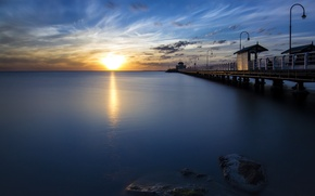 Picture sea, sunset, Melbourne, Australia, Victoria, St Kilda