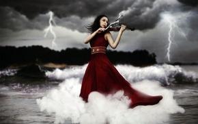Picture girl, music, lightning, violin