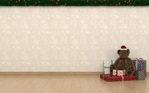 Picture bear, gifts, New year, Teddy bear