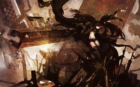 Picture girl, weapons, smoke, anime, art, chain, black rock shooter, insane black rock shooter, hanyijie
