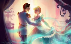 Picture girl, art, Cinderella, Prince, guy, Cinderella, kelogsloops