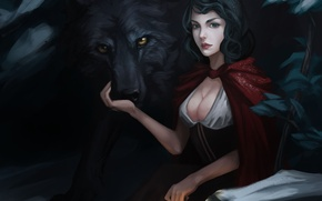 Picture girl, wolf, little red riding hood, art, lantern, cloak, Red Riding Hood, Marilyn Zhuang