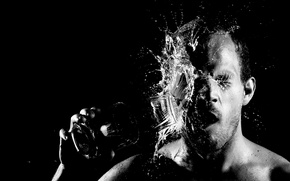 Picture man, face, black and white, glass of water