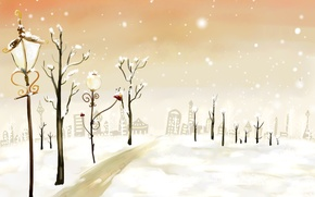 Picture winter, road, snow, trees, lights, home, Figure, lantern, New year