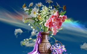 Picture the sky, bouquet, Spring, vase
