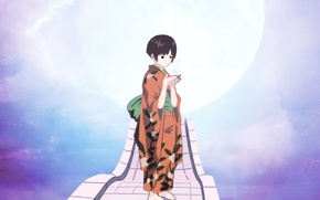 Picture the moon, anime, art, girl, Comino