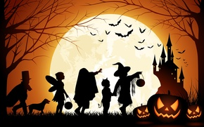 Wallpaper Halloween, Moon, Pumpkin, Castle, Men And Dog, Bats, Trees