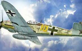 Picture war, art, painting, aviation, ww2, german fighter, Messerschmitt Bf 109K-4