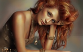 Picture look, girl, decoration, face, Mischa Barton, hand, art, bracelet, red hair