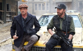 Picture Sylvester Stallone, Chuck Norris, Chuck Norris, Sylvester Stallone, The Expendables 2, The expendables 2, Barney …