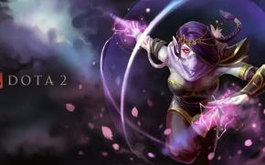 Picture girl, magic, art, Dota 2, Lana, Templar Assassin, aura