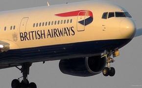 Picture engine, Boeing, chassis, Boeing, 300, passenger, The plane, Landing, british, airways, B-767