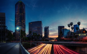 Picture road, night, lights, the evening, excerpt, CA, USA, Los Angeles