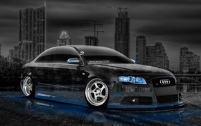 Picture Audi, Auto, Night, Audi, Blue, The city, Neon, Machine, Tuning, Wallpaper, Blue, City, Car, Art, …