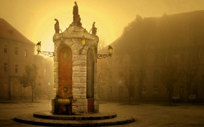 Picture the city, fog, morning, area, square, sunrise, town