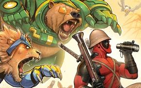 Picture red, animals, Leo, bear, binoculars, the gun, Deadpool, Deadpool, katana, comics, MARVEL, Wade Wilson