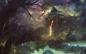 Wallpaper house, light, the sky, art, trees, Fantasy, pass