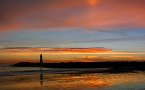 Picture sunset, reflection, lighthouse