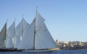 Picture sea, water, shore, buildings, sails, bank, sail, sailboat, sailboats, sailship, vessels, vessel, sailships