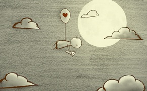Picture clouds, the moon, heart, flashlight, deviantart, in search of love, BlackJack0919