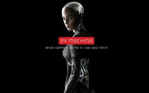 Picture fiction, robot, black background, poster, Ava, Alicia Vikander, Alicia Vikander, Out of the car, Ex ...