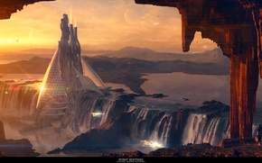 Picture waterfall, towers, point, sentinel