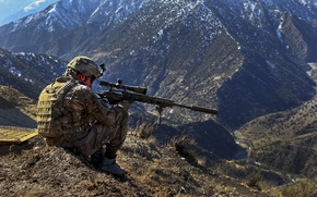 Picture mountains, army, optics, Military, sniper, camouflage, sight, aiming, sniper rifle