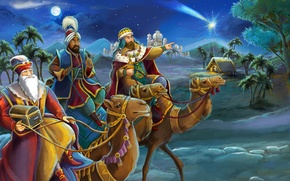 Picture desert, camels, Melchior, Biblical Magi, the Magi, Gaspar, Balthazar