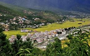 Picture mountain, valley, Kingdom, Himalaya, Western Bhutan, Paro