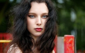 Picture eyes, look, girl, face, hair, lipstick, lips