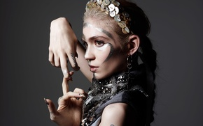 Picture style, Rankin, Grimes, decoration, outfit, gesture, Claire Boucher, singer, Grimes, hairstyle, makeup, canadian, Hunger, photographer