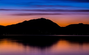 Picture twilight, mountains, lake, evening, dusk, reflection, blue hour, antenna