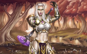 Picture forest, magic, armor, hammer, WoW, World of Warcraft, elf