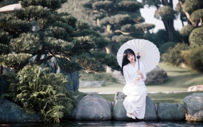 Picture girl, umbrella, Asian