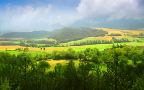 Picture trees, mountains, nature, field, home, trees, nature, mountains, fields, houses