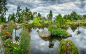 Picture the sky, water, flowers, clouds, nature, pond, Park, tree, landscape, stone, island, garden, track, alley