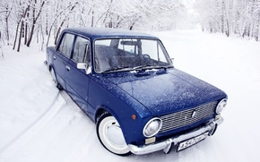 Picture winter, forest, snow, blue, penny, classic, blue, Lada, 2101, VAZ