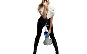 Picture BACKGROUND, BLONDE, WHITE, GLASSES, MICROPHONE, BOOTS, SINGER, Anastacia, MEGAPHONE