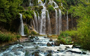 Wallpaper Croatia, waterfall, Plitvice National Park, rock, forest, stream, for, stones