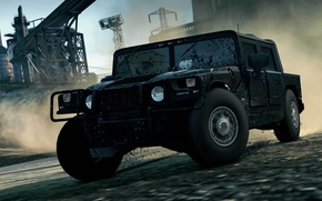 Picture dirt, SUV, race, hammer, dust, need for speed most wanted 2