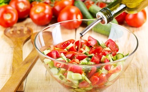 Picture oil, bow, tomatoes, cucumbers, salad