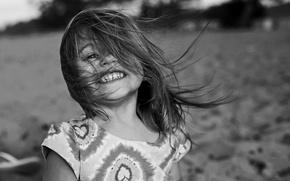 Picture joy, portrait, laughter, girl, bokeh