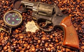 Picture coffee, map, Spain, revolver, compass, grain, Madrid, six, Rohm