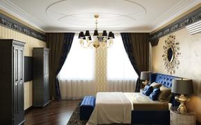 Picture furniture, bed, mirror, window, chandelier, bedroom