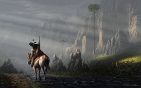 Picture landscape, river, stream, stones, rocks, horse, horse, people, feathers, art, Indian, fel-x