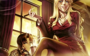 Picture balalaika, art, pirates of the black lagoon, hiroe rei, anime, black lagoon, revy, smoke, cigar, ...