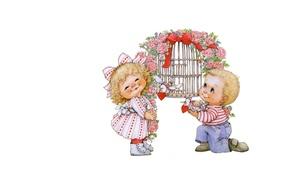 Picture holiday, gift, art, two, Valentine's Day, children's. Valentine